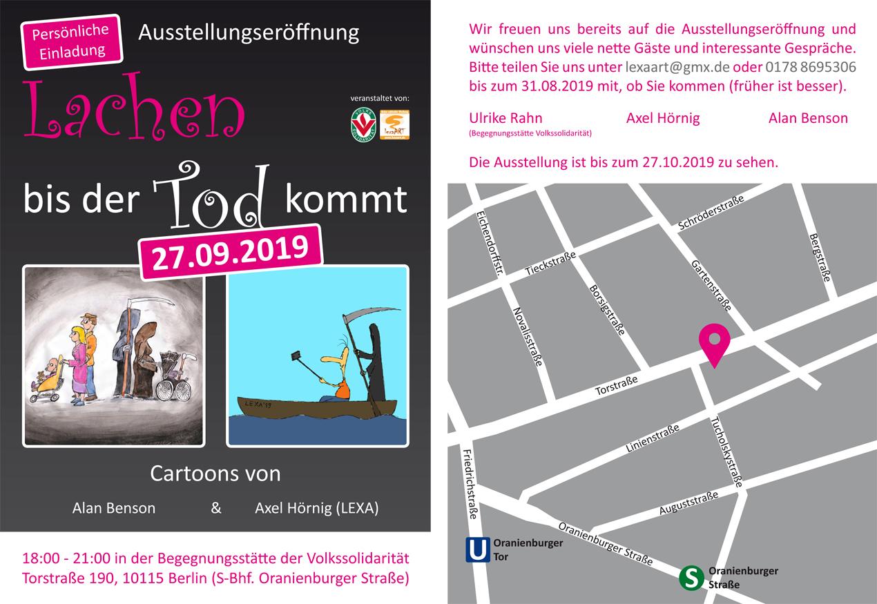 "Einladung Cartoonausstellung ""Lachen bis der Tod kommt"", lexatoons, Axel Hörnig, Alan Benson, Volkssolidarität"